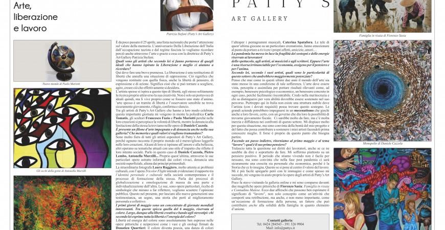 """Vicenza News, Patty's Art Gallery: """"Arte, Liberazione e Lavoro""""."""